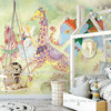 Light Yellow And Green Angel And Knight Fairy Tale Cartoon Art For Kid S Room Wallpaper