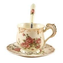 Taza y Taza de café Set Rose Kahve Fincan Takimlari Copo Drinkware Caneca De Cerámica de China de Hueso Clásico Europeo