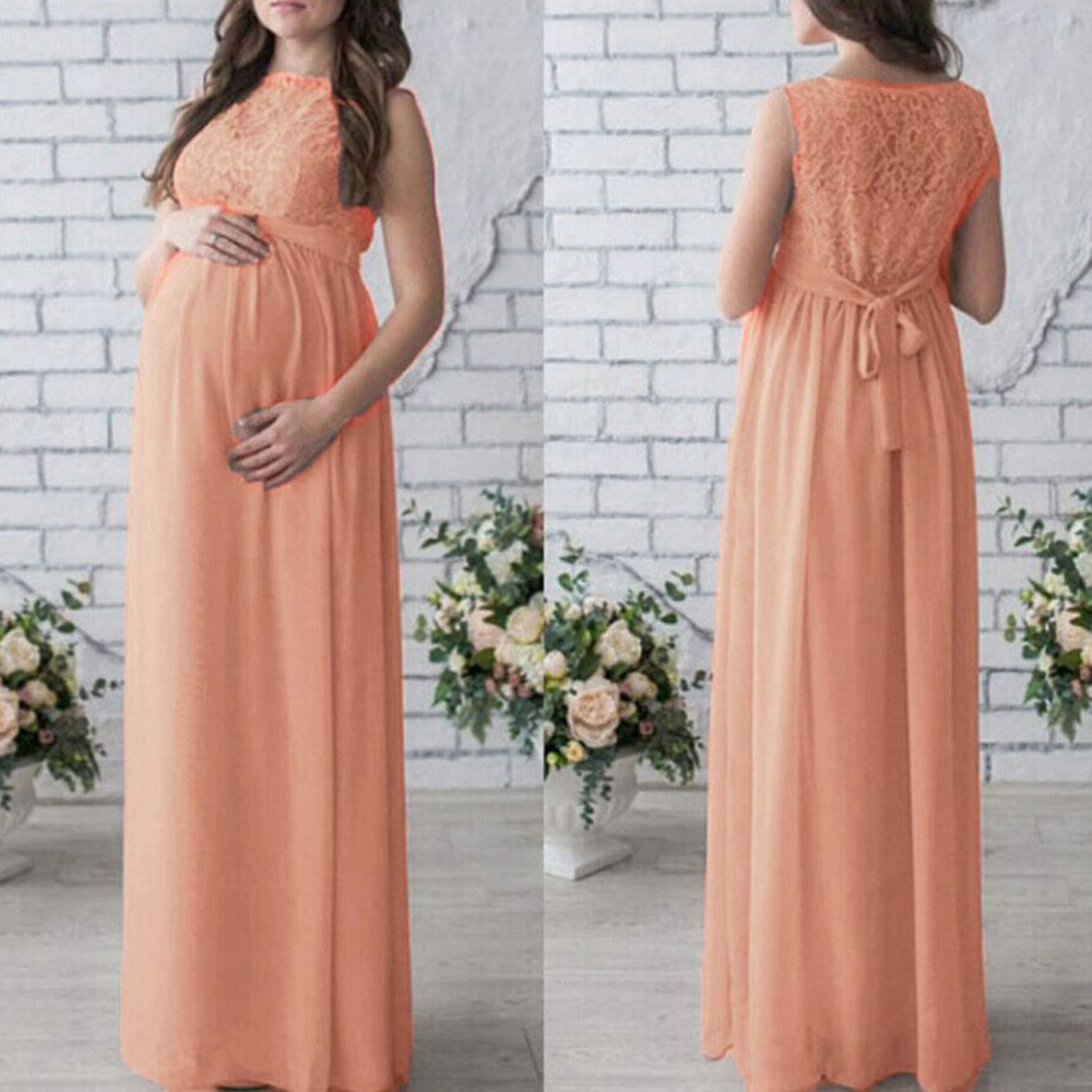 Pregnant Women Lace Long Maxi Dress Maternity Gown Photography Props Clothes maternity dress photography umstandskleid vestidos