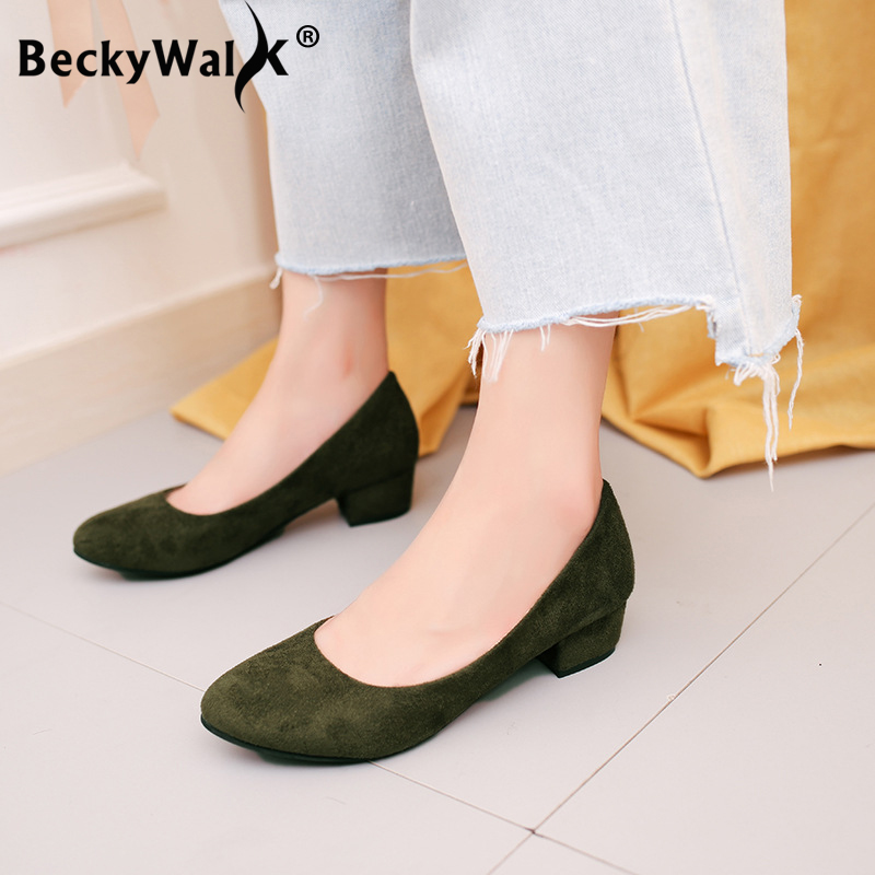 6 Colors Round Toe Pumps Thick Low Heels Flock Autumn Shoes Women Casual Slip On Woman Shoes Female Office & Career Shoe WSH3183