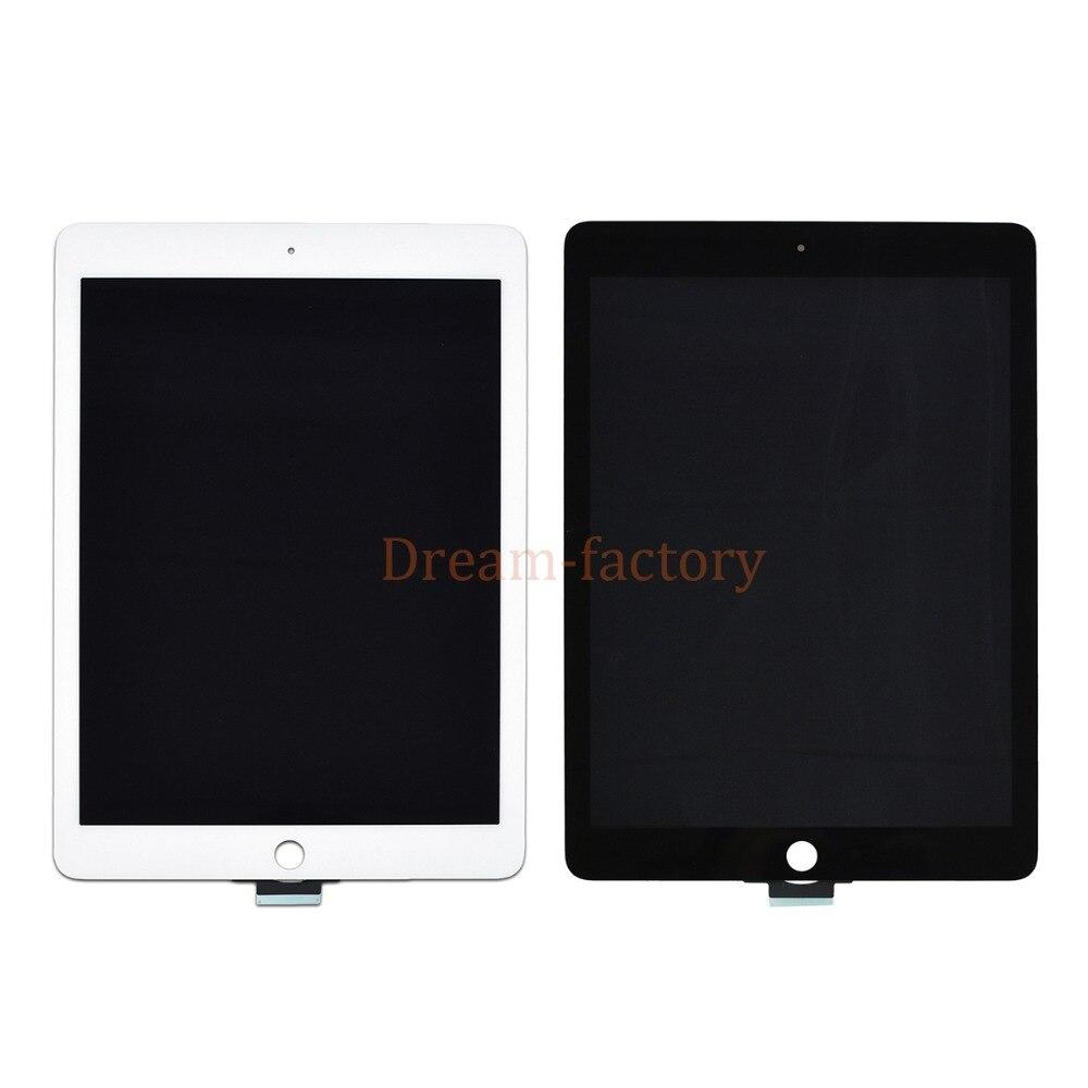 10 pièces DHL Pour iPad Air 2 2nd Génération A1567 A1566 LCD Écran Tactile Verre Numériseur Lentille Tablette Panneau + Adhésif Blanc Noir