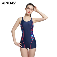 Professional Boxer Shorts Swimsuit Solid Swimming Suit For Women Sport One Piece Swimsuit Athlete Bathing Suit