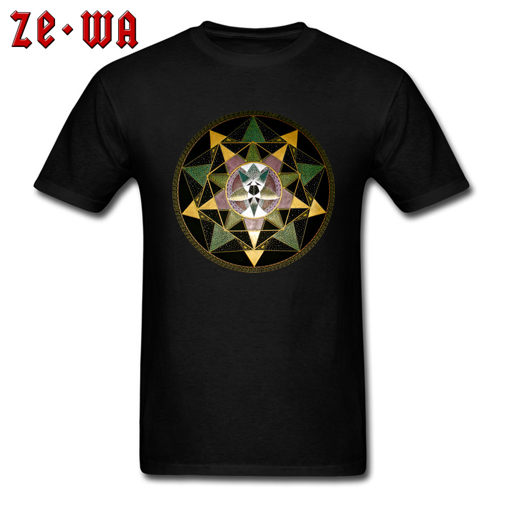Tee Shirt Men T-shirt Geometric Tops Punk Mandala <font><b>Tshirts</b></font> O Neck Black Clothing Cotton T Shirts Custom <font><b>Om</b></font> <font><b>Tshirt</b></font> Wholesale image
