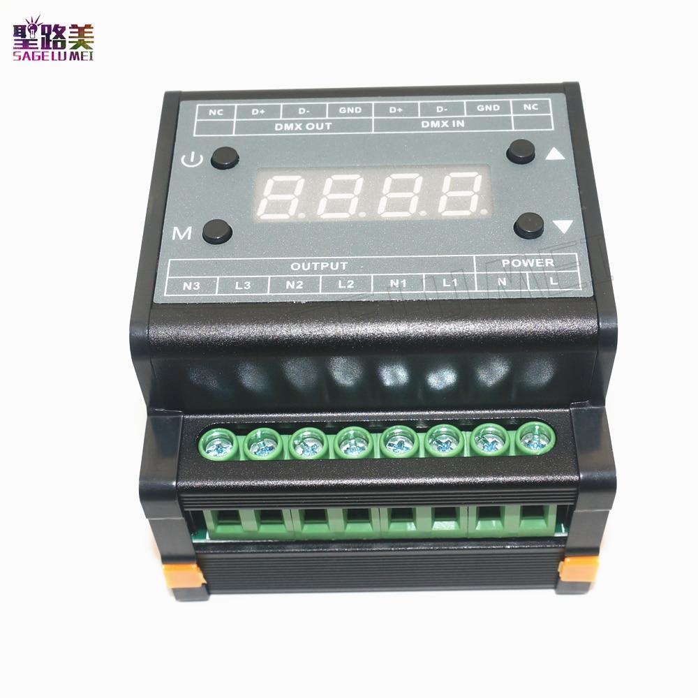 DMX302 DMX triac dimmer led brightness controller AC90V-240V 50Hz/60Hz Output high voltage 3channels 1A/CH for led panel light