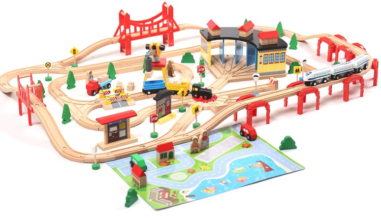 Thomas and Friends--Thomas Electric Train Track Set Wooden Railway Track EDWONE fit Thomas and Brio Gifts For Kids 78pcs hand crafted wooden train set triple loop railway track kids toy play set