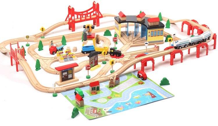 Train électrique EDWONE Set piste de chemin de fer en bois EDWONE fit Thomas et Brio Trains cadeaux pour les enfants
