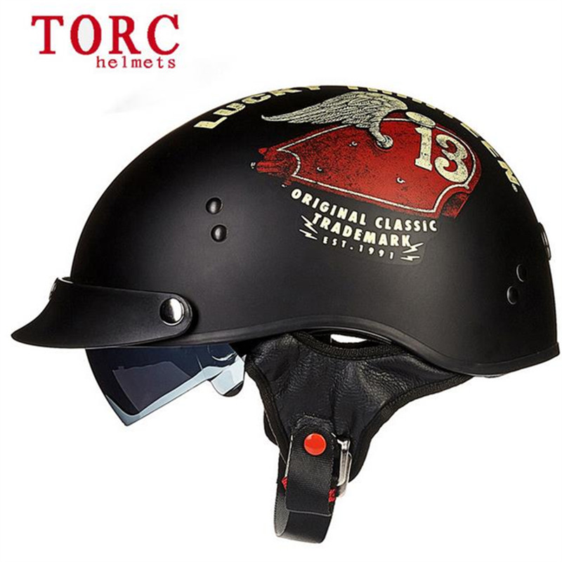 Chopper Bike <font><b>Helmet</b></font> Classic Half <font><b>Face</b></font> motorcycle <font><b>helmet</b></font> with visor and inner shield DOT certificate <font><b>helmet</b></font>