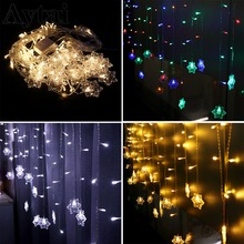 OurWarm 4M Christmas Garland LED Curtain Snowflower String Light Wedding Party Patio Window Outdoor Decoration