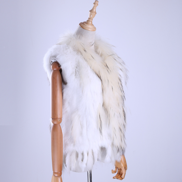 Brand New Women's Lady Genuine Real Knitted Rabbit Fur Vests tassels Raccoon Fur Trimming Collar Waistcoat Fur Sleeveless Gilet 4