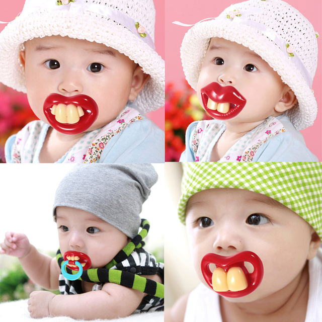 Funny Infant Baby Teether Dummy Pacifiers Orthodontic Silicone Nipples Lips Funny Strange Buck Teeth