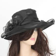 Verano mujeres señoras boda Iglesia Formal Racing Organza sombrero de ala  ancha sombrero sombreros de sol · 8 colores disponibles 5b98b6dc1e7