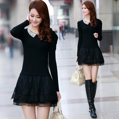 2016 New Winter Knitted Pullover Sweater dress for Women Tricotado Lace Embroidery Paillette Gold Casual Long Top Tunic Knitwear