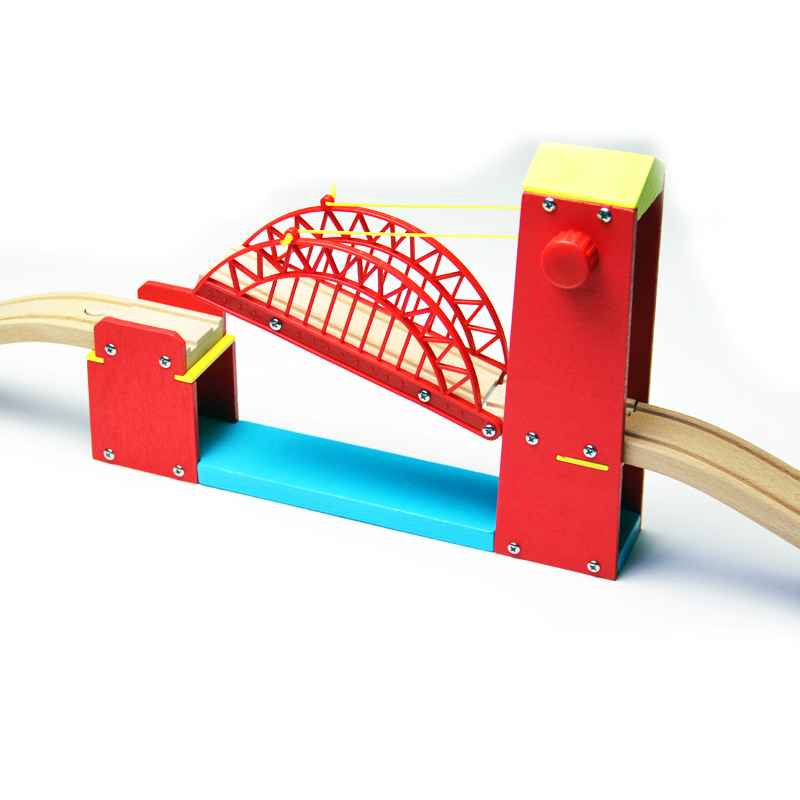 Wooden Red Suspension Bridge Compatible With Brio Compatible With Brand Wood Track Wooden Train Track Railway Accessories
