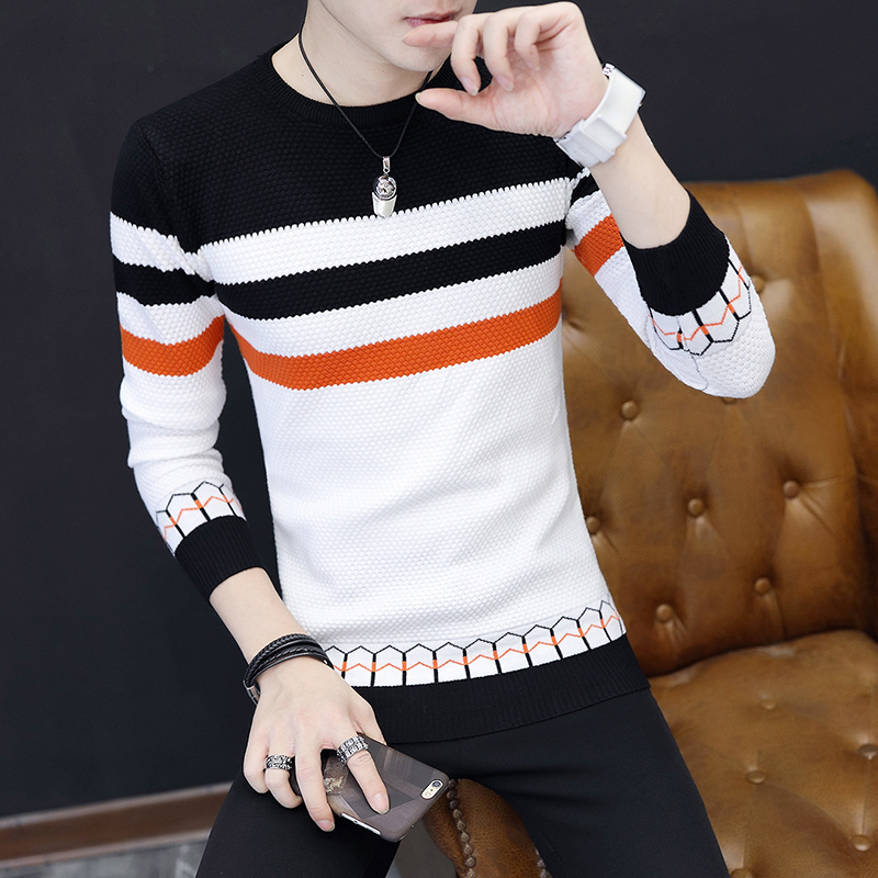 Autumn Winter Casual Men's Sweater O-Neck Striped Slim Fit Knittwear Mens Sweaters Pullovers Pullover Men Pull Homme M-3XL