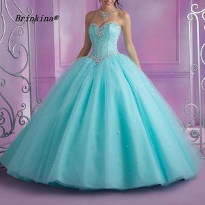 BrinKina Blue Tulle Ball Gown Sweet Quinceanera Dresses