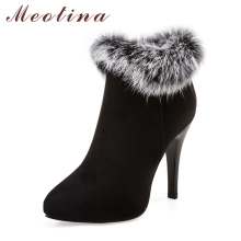 Meotina Sexy Women Boots High Heels Ankle Boots Shoes Women Pointed Toe Ladies Boots Snow Fur Zip White Red Big Size 10 11 44 45