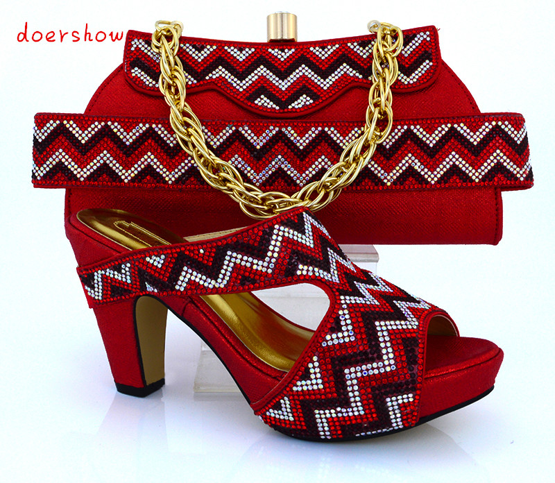 doershow Free shipping!! fashion shoes and bags to match Italian design for the lady,red color shoes and bag set !HVB1-48 2016 spring and summer free shipping red new fashion design shoes african women print rt 3