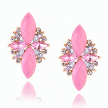 E0227 Fashion Jewelry Pink Red Flower Crystal Stud Earrings For Women Vintage Party Wedding Jewelry Elegant Lady Gift Wholesale
