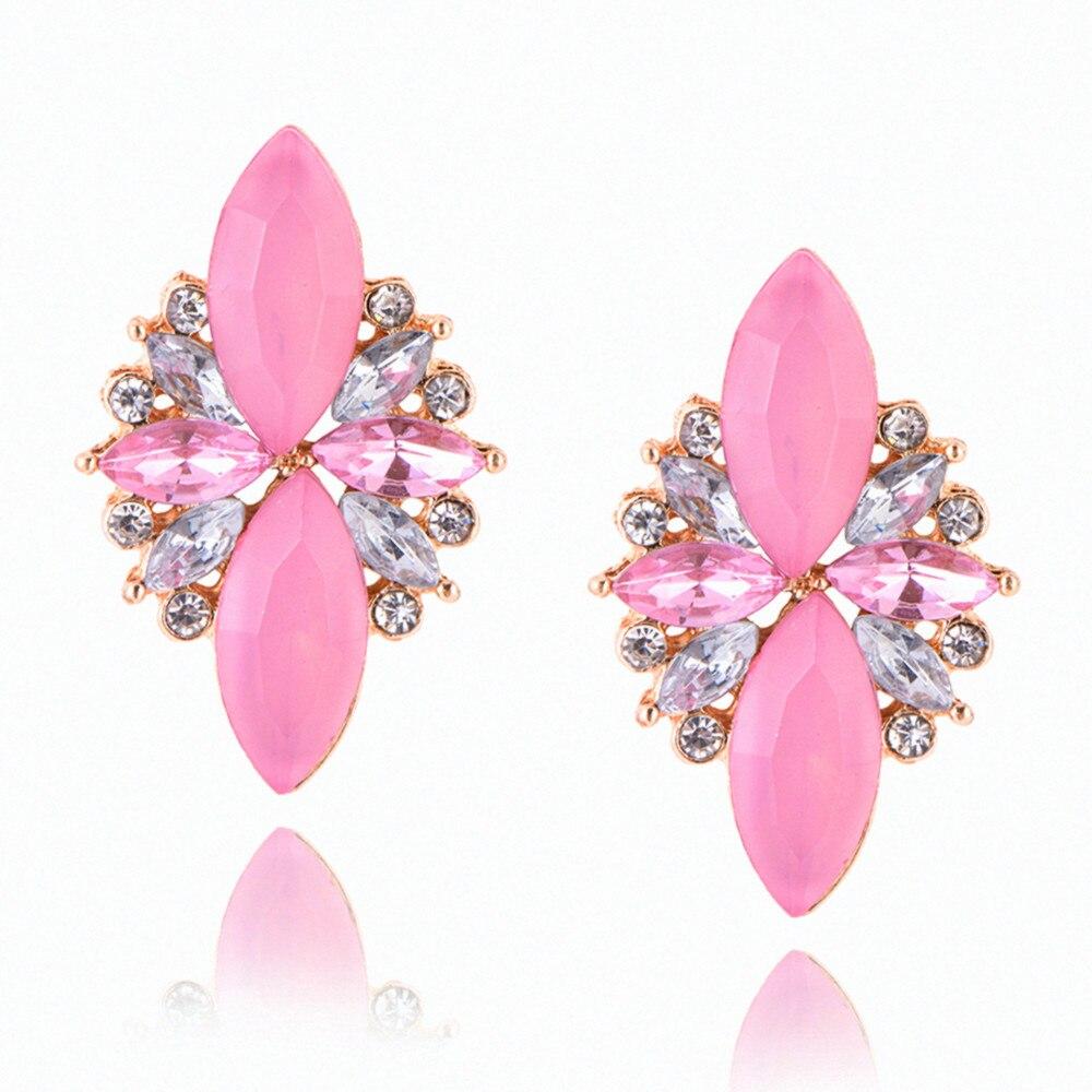 E0227 Модные украшения Розовый и красный цвет цветок Кристалл серьги стержня для Для женщин Винтаж вечерние свадебные украшения элегантная дама подарок, оптовая продажа
