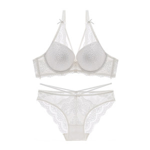 Image 2 - Varsbaby new sexy push up lace bras underwire underwear bow breathable panties for women