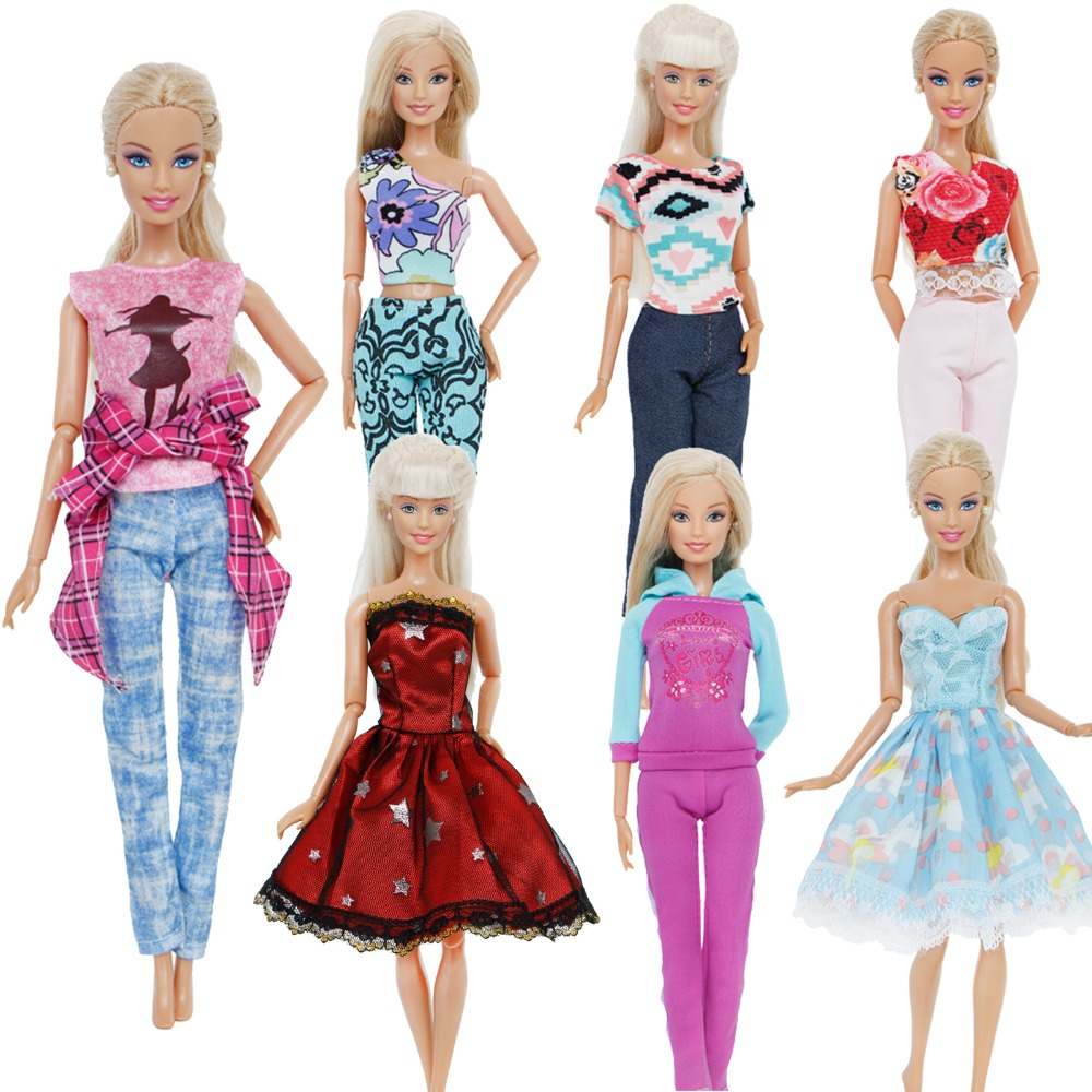 Handmade Fashion Outfit Daily Casual Wear Pants Trousers Mixed Style T-Shirt Sexy Tops Clothes For Barbie Doll Accessories Toys