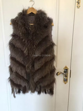 SF0157 Genuine Quality Popular Women Coat Vests Rabbit Fur Vest Raccoon Fur Tassel