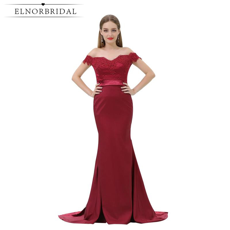 Burgundy Mermaid Evening Dresses Cheap 2017 Off The Shoulder Prom Dress Lace Robe De Soiree Formal Party Pageant Gowns