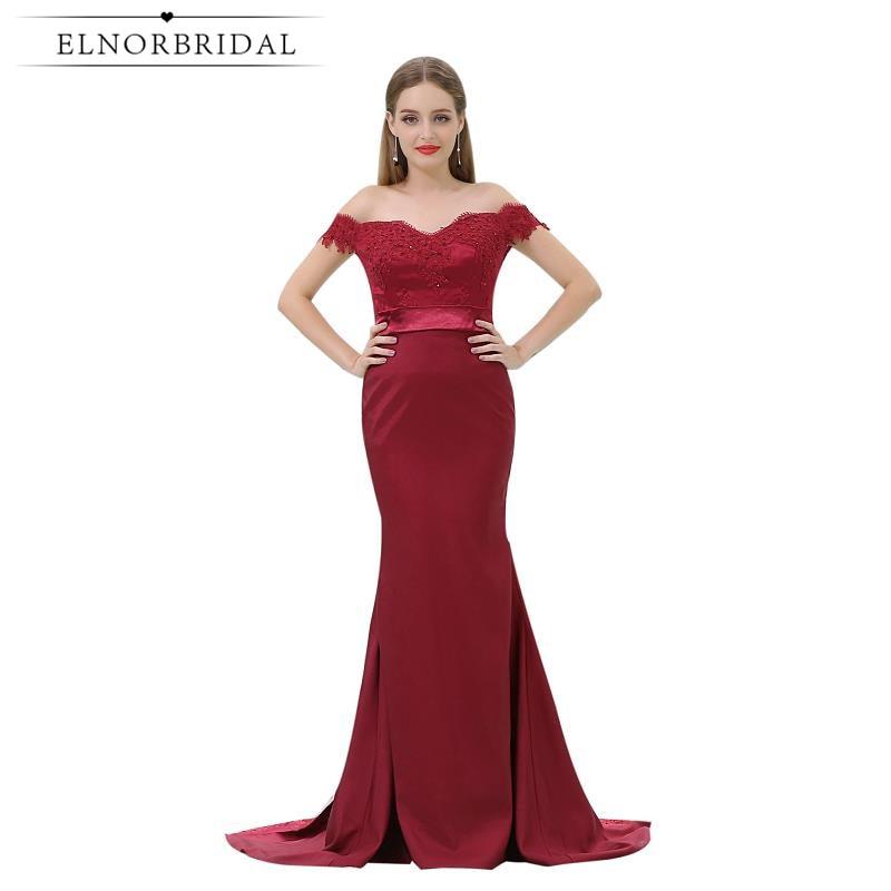 591b8af33e2fc5 Бордовий русалка вечірні сукні дешево 2019 від плеча плаття ...