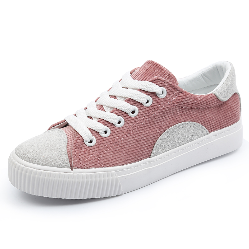 High quality Women canvas shoes 2018 spring women sneakers flat shoes solid flock women casual shoes in Women 39 s Vulcanize Shoes from Shoes