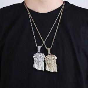 Image 5 - JINAO collar de Jesús grande y Colgante con cadena de tenis para hombre, Color dorado, Circonia cúbica helada, regalo de joyería de Hip Hop