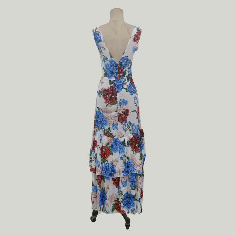 Été femmes Boho Floral imprimé robes mode dames sans manches soirée longue Maxi robe 2019 bretelles col en v