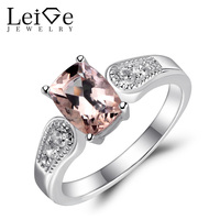 Leige Jewelry Morganite Ring Natural Pink Gemstone Sterling Silver 925 Fine Jewelry Engagement Promise Love Rings for Women