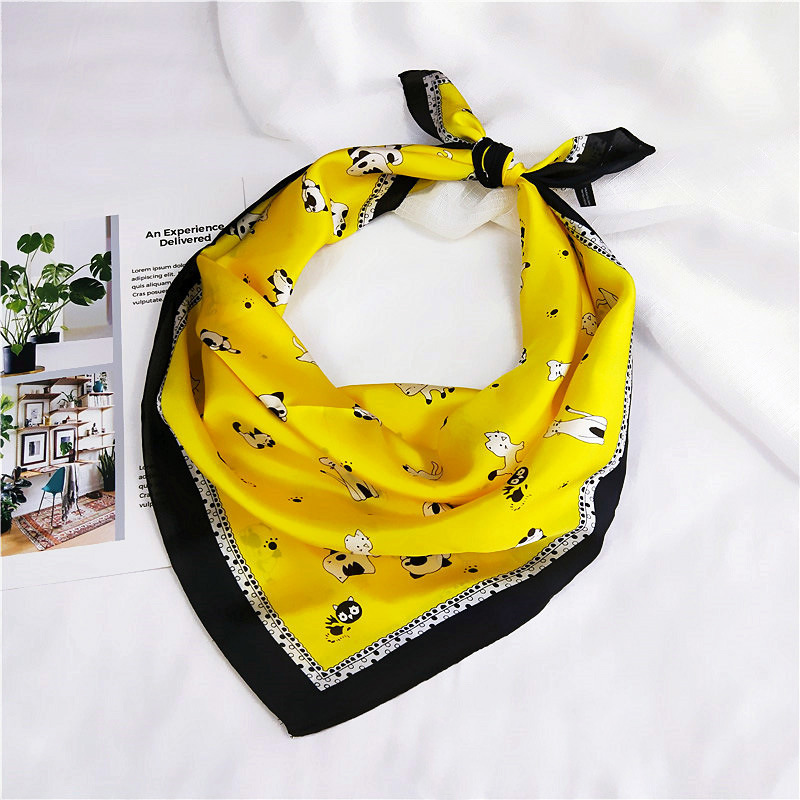 Fashion Women Square Head   Scarf     Wraps     Scarves   Ladies Cartoon Cat Cute Printed Kerchief Neck Bandana For Female 70*70cm