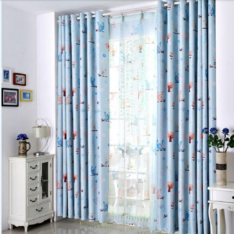 persianas de dibujos animados para nios patrn de bho azul nios habitacin cortinas de voile cortinas