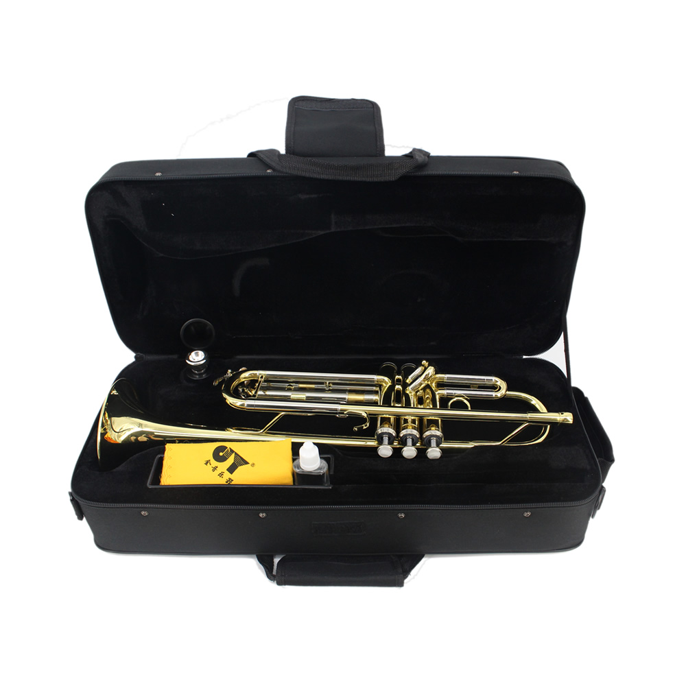 Top Quality Gold Lacquer Trumpet Bb Flat Brass Wind Instruments with Case Gloves Mouthpiece high quality musical instruments many colors gold lacquer trumpet bb b flat brass exquisite with mouthpiece gloves
