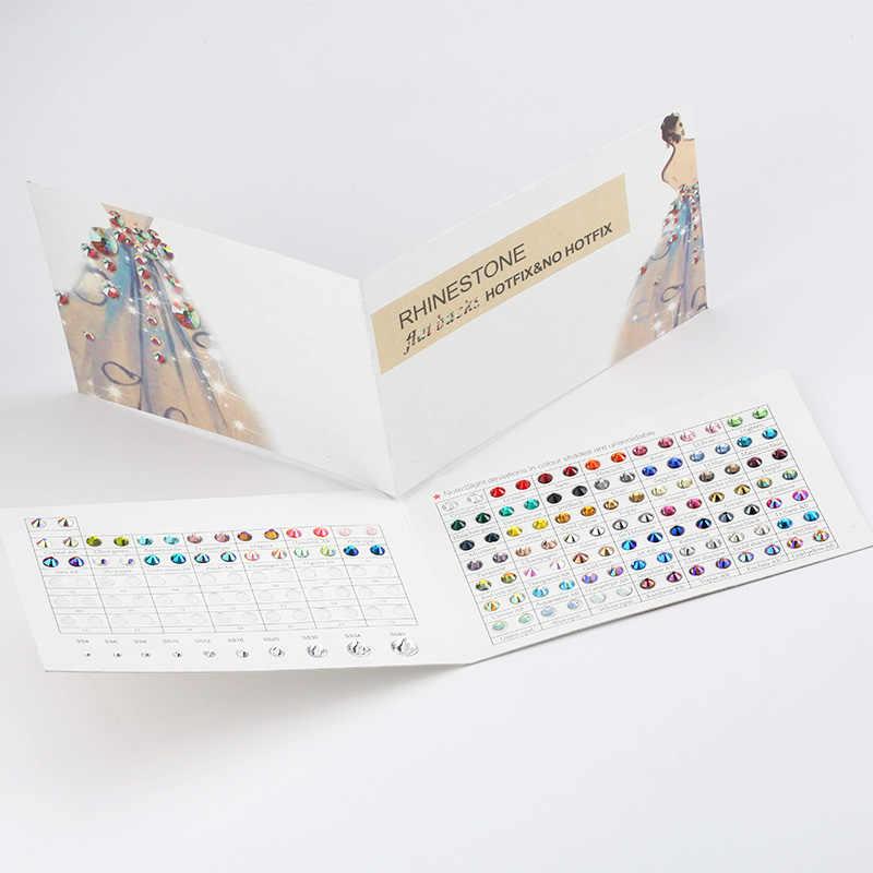 QIAO Marke Strass Farbe Karte Viele Farben für Hot fix/Nicht hotfix