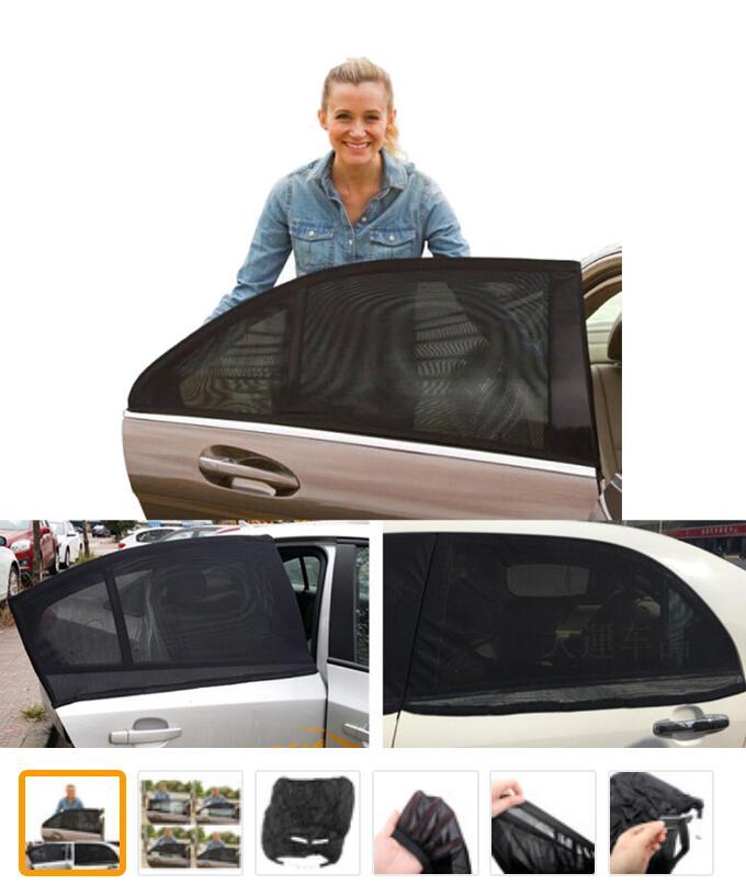 2 X Update 70L Aluminum Alloy Elastic Auto Car Side Window Sunshade Curtain Sun Visor Blinds- Black/Beige