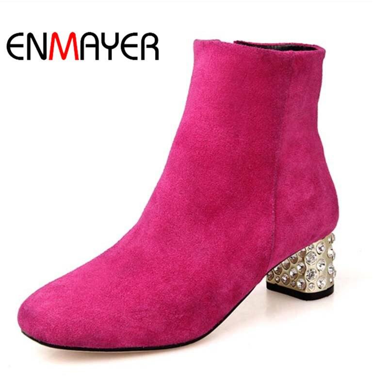 ФОТО ENMAYER Big Size Full Grain Leather Boots Rhinestone high quality Round Toe Fashion High Boots Winter wedding platform pumps