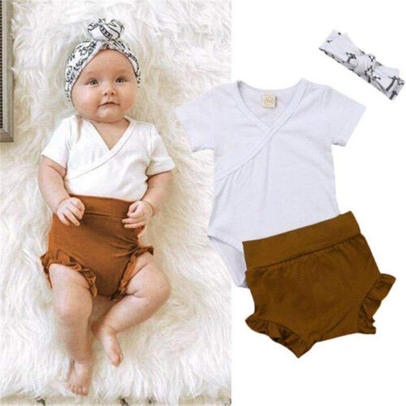 0-18 M Neue Geboren Baby Set Baby Kurzarm Baby Strampler Braun Rüsche Shorts Hosen Kinder Weißen Haarband Baby Mädchen Kleidung Set Hoher Standard In QualitäT Und Hygiene