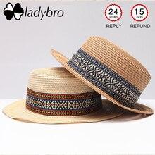 Ladybro mujeres Playa Sol sombrero femenino Floppy verano sombrero de paja  plegable bohemio bordado sombrero plano a5eb914b47f