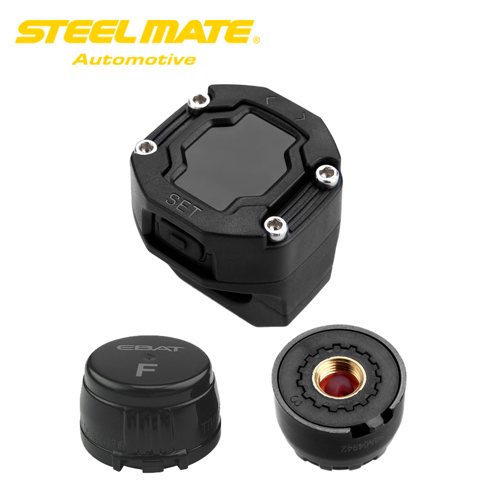 Steelmate DIY ET-900AE TPMS for Motorcycle Wireless Tire Pressure Monitoring System with Waterproof External Sensor LCD Display цена