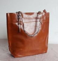 Modieuze toevallige zwarte schoudertassen grote rundleer olie wassende vrouwen tas Vee Split Lederen handtas boodschappentassen