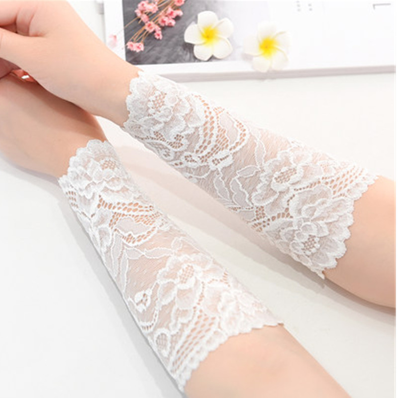 Women Arm Sleeves Lace Scar Cover Driving Gloves Floral Arm Warmers UV Sun Protective Sleeves Black White Beige Pink
