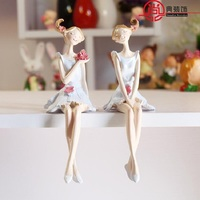 2pcs Set Home Living Room Decorations Resin Flower Fairy Creative Angel Decoration A Pair Of