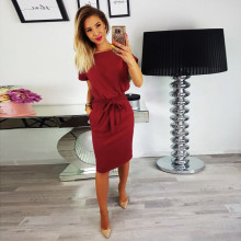 Summer Ladies Short Sleeve Evening Girl Party Mini Dress Sexy Belt Womens Casual Pocket
