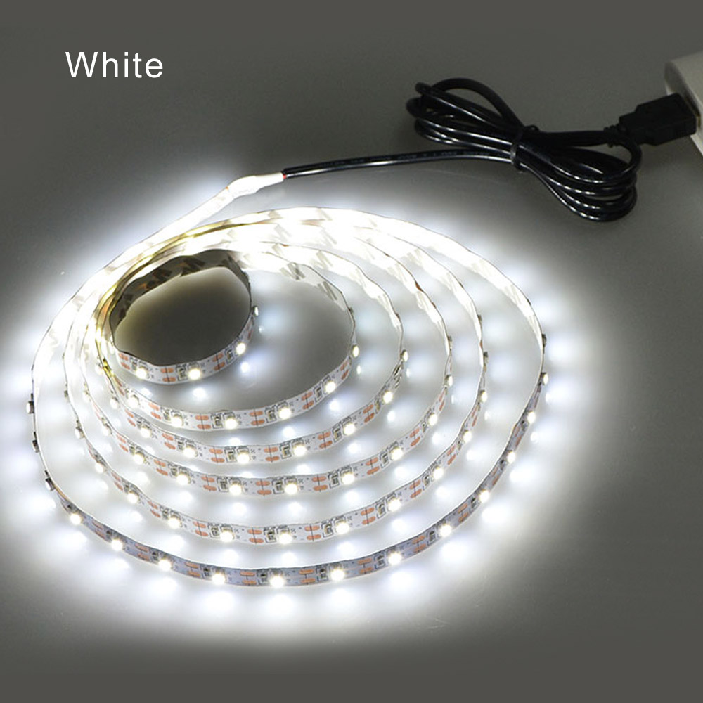 pretty nice 5f435 6f49c US $0.6 30% OFF|DC 5V LED Strip Light RGB White Warm White TV Background  Lighting Flexible 1m 2m 3m 4m 5m LED Tape Lamp For Bedside Table Tira-in  LED ...