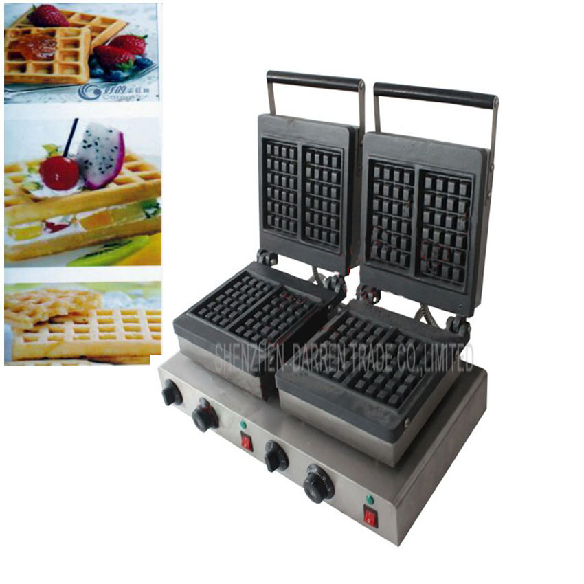 1PC Electric double-end for waffle machine,commercial square waffle machine,waffle grill/ waffle oven/ Snack machine three groups of kebab ovens commercial electric oven machine