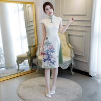 New Traditional Chinese Women Rayon Aodai Dress Plus Size S 3XL Vintage Button Qipao Novelty Sexy Print Flower Short Cheongsam