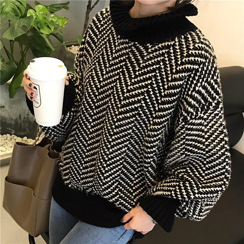 2ecf5aceb99a Suéter Collar Mujer 2018 Flojo black Cabello Wild De Yellow Punto  Hippocampus Primavera Otoño Suéteres Nueva ...
