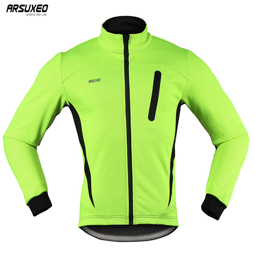 цена ARSUXEO 2017 Thermal Cycling Jacket Winter Warm Up Fleece Bicycle Clothing Windproof Waterproof Sports Coat MTB Bike Jersey 16H онлайн в 2017 году